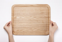 Woman Hand Hold A Wood Tray Is...