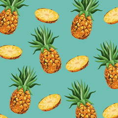 Panel Szklany Podświetlane Do gastronomi pineapple fruit fresh seamless pattern design vector illustration eps 10