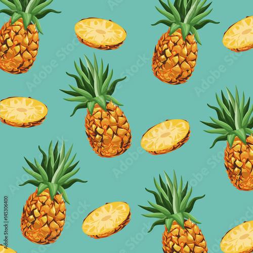 Obraz na plátně pineapple fruit fresh seamless pattern design vector illustration eps 10