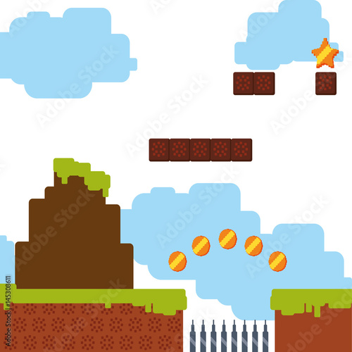 Pixelated scenery videogame vector illustration graphic icon Canvas Print