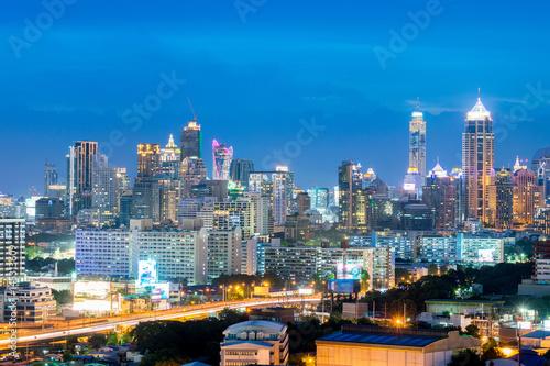 Foto op Aluminium Nacht snelweg Bangkok city skyline downtown, and business residential district.