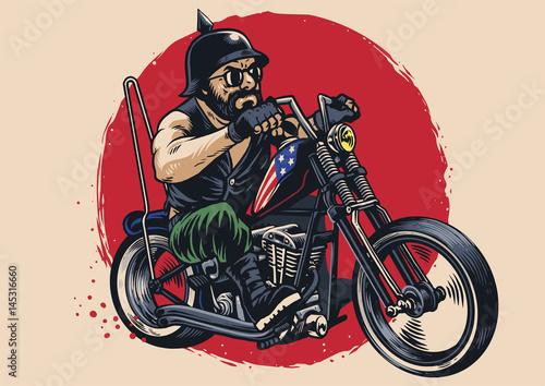 Fotografía man riding a chopper motorcycle
