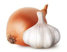 Isolated Vegetables. Raw Onion And Garlic Isolated On White Background, With Clipping Path