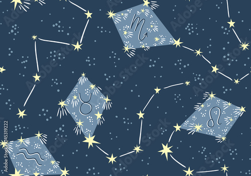 Cotton fabric Seamless pattern with kites in the star sky. Vector night astrology fabric design. Bright space background with constellations.