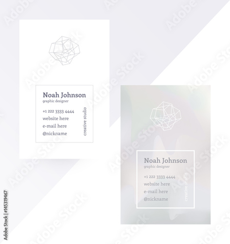 Gray double-sided business card with a crystal logo