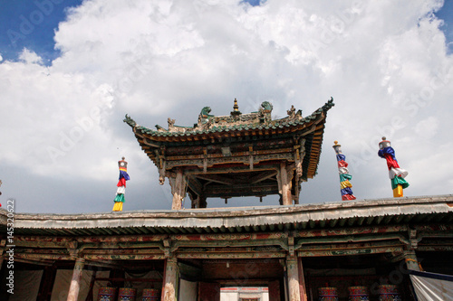 roof decoration in a buddhist temple buy this stock photo and