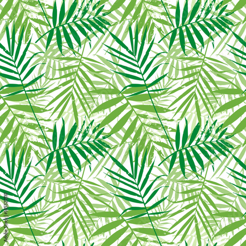 Ingelijste posters Tropische Bladeren Tropical palm leaves, jungle leaves seamless vector floral pattern. Seamless exotic background with tropical leaves. Vector illustration.