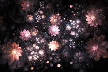 Abstract Delicate Pink Flowers And Pearls On Black Background. Fantasy Fractal Design. Psychedelic Digital Art. 3D Rendering.