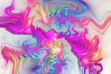 Abstract Fantasy Swirly Texture. Psychedelic Fractal Background In Pink, Orange, Purple And Blue Colors. Digital Art. 3D Rendering.