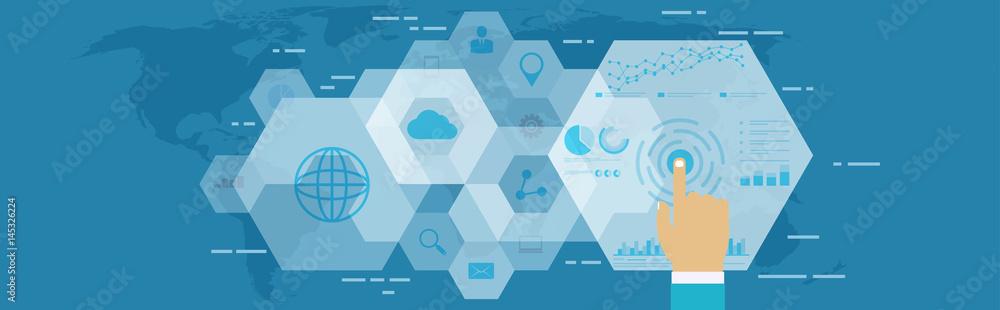 Fototapety, obrazy: Digital web analytics. Business technology in digital space, SEO optimization, marketing concept.
