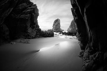 Panel SzklanyBlack and white photo of rocky coastline of Atlantic ocean