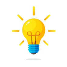 Vector Illustration. Light Bulb With Rays Shine. Energy And Idea Symbol. Decoration For Greeting Cards, Patches, Prints For Clothes, Badges, Posters