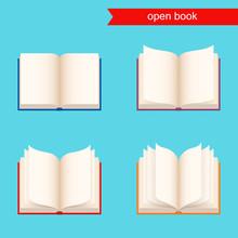 Open Book. Vector Icon Set.