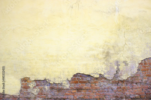 Old brick wall with peeling plaster, grunge background - Buy this ...