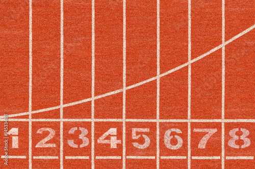 Fototapeta Running track whit number in top view.