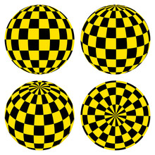 Set 3D Spheres With A Pattern Of Yellow And Black Squares  Taxi