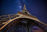 Fototapeta Eiffel Tower - The Eiffel Tower at night in Paris, France