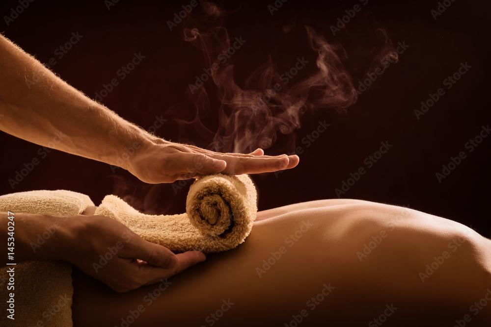 Fototapety, obrazy: Hot towel compress. SPA treatment