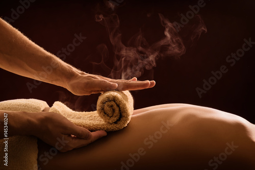 Hot towel compress. SPA treatment
