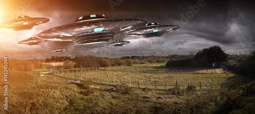 Poster UFO UFO invasion on planet earth landascape 3D rendering