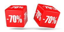 Seventy Percent Off. Discount 70 %. Red Cubes.