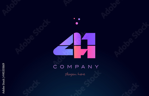 Tela 41 forty one pink magenta purple number digit numeral logo icon vector