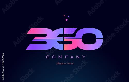 Fotografia  360 pink magenta purple number digit numeral logo icon vector