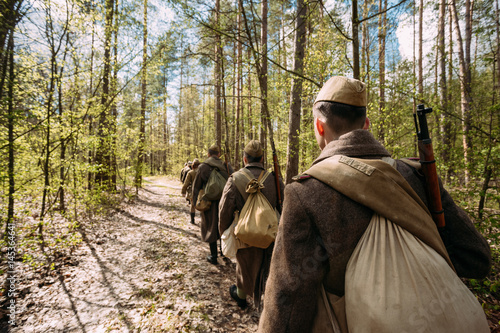 Acrylic Prints Horseback riding Re-enactors Dressed As Soviet Russian Red Army Infantry Soldiers