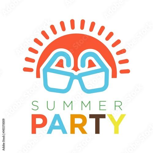 lato-partyjny-logotyp-z-czerwona-slonca-i-okularow-przeciwslonecznych-wektoru-ilustracja