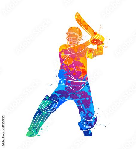 Fotomural Abstract batsman playing cricket