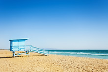 Lifeguard Tower On A Sandy Beach Of Santa Monica