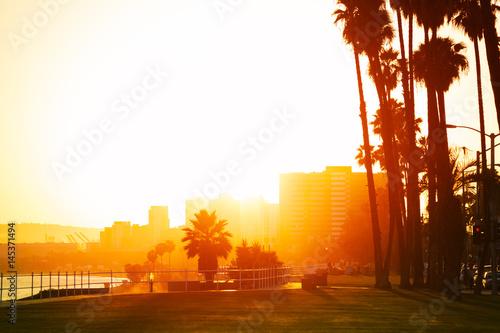 Fényképezés  Sunset over the seafront of Long Beach, California