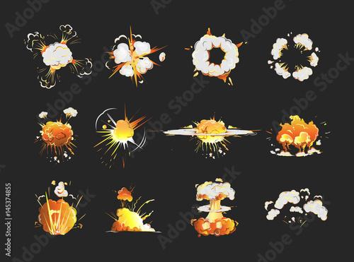 Fotografia  Explosion icons set on black background