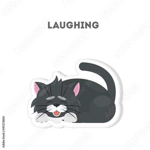 d765c4f8e Laughing cat sticker. Isolated cute emoji on white background. - Buy ...