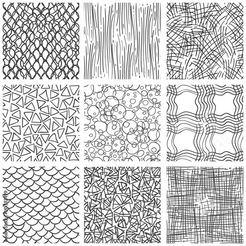 Abstract Pen Sketch Seamless Pattern Set Hand Drawn Doodle Thin