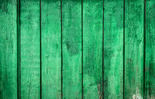 Green Wood Background Texture. Old Rural Wooden Fence Background.