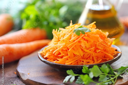 Salad with carrot and greens Canvas Print