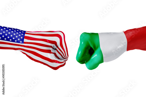 USA and Italy flag Wallpaper Mural
