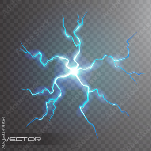 Isolated realistic lightning bolt with transparency for