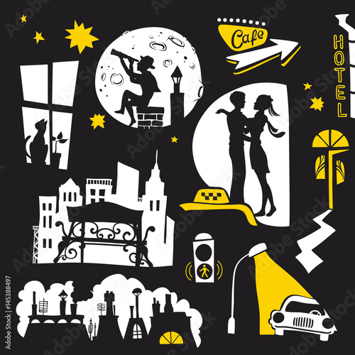 Photo Set of Hand Drawn Scenes with Silhouettes of People at Night and Urban Life on B