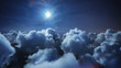 Leinwandbild Motiv Flying over the deep night timelapse clouds with moon light. Seamlessly looped animation. Flight through moving cloudscape with beautiful moon. Perfect for cinema, background, digital composition.