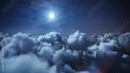 Flying over the deep night timelapse clouds with moon light. Seamlessly looped animation. Flight through moving cloudscape with beautiful moon. Perfect for cinema, background, digital composition. - 145394435