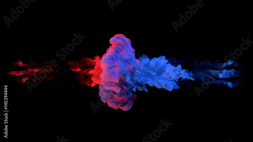 Fototapeta Color paint drops in water. Ink swirling underwater. Cloud of silky ink collision isolated on black background. Colorful abstract smoke explosion animation. Close up camera view. obraz