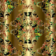 Gold Damask Floral Seamless Pa...