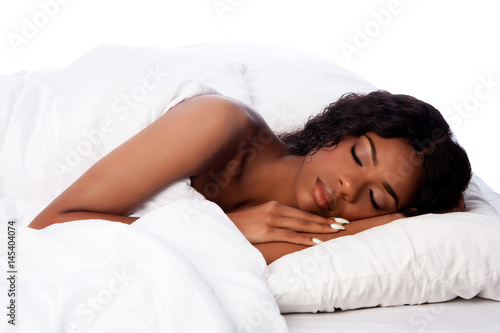 Beautiful woman deeply asleep and dreaming Canvas Print