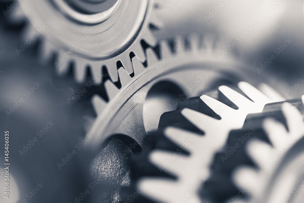 Fototapeta engine gear wheels, industrial background