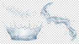 Gray water crown, drops and splash of water. Transparency only in vector file