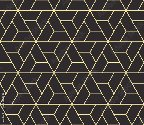 plakat Seamless antique palette black and gold isometric revolving triangles outline pattern vector