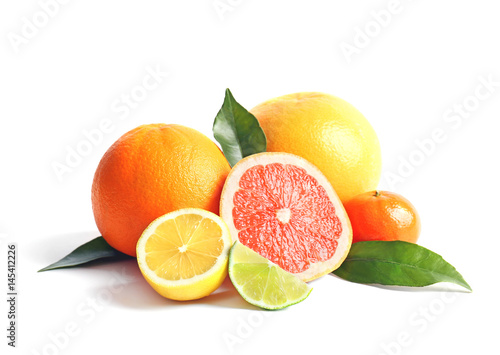 Vászonkép Citrus fruits on white background