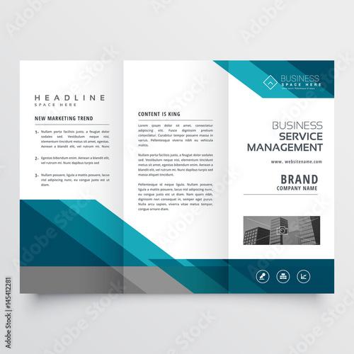 business trifold brochure leaflet design in size A4 for print Fototapeta
